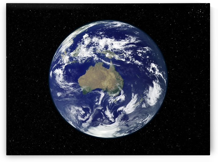 Fully lit Earth centered on Australia and Oceania. by StocktrekImages