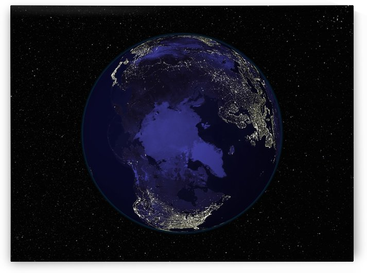 Full Earth at night showing city lights centered on the North Pole. by StocktrekImages
