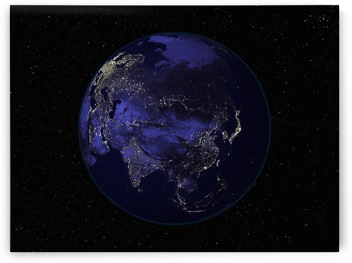 Full Earth at night showing city lights centered on Asia. by StocktrekImages