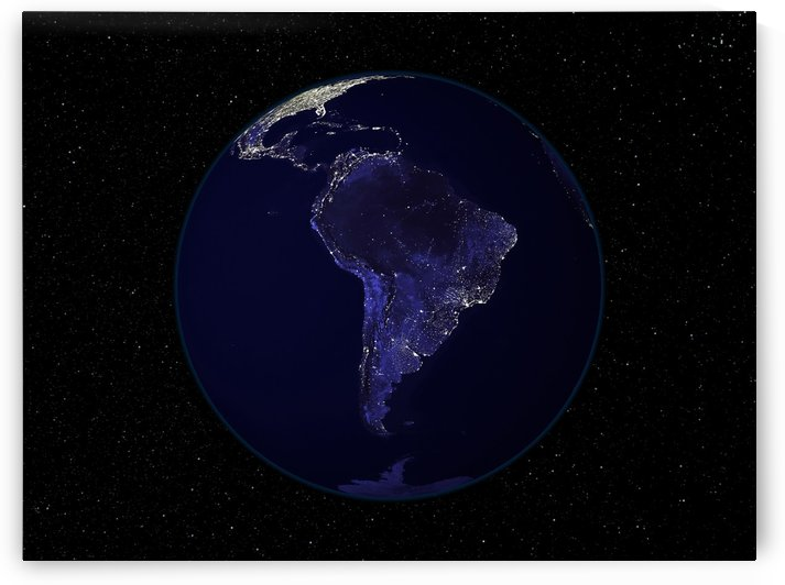 Full Earth at night showing city lights centered on South America. by StocktrekImages
