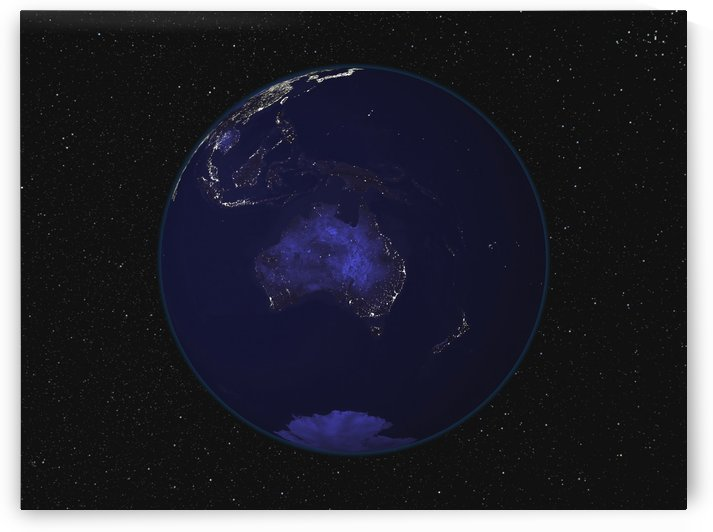 Full Earth at night showing city lights centered on Australia and Oceania. by StocktrekImages