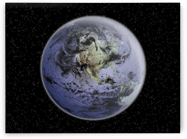 Digitally enhanced image of the Full Earth showing North America. by StocktrekImages