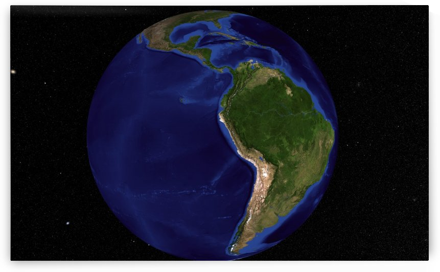 The Blue Marble Next Generation Earth showing South America. by StocktrekImages
