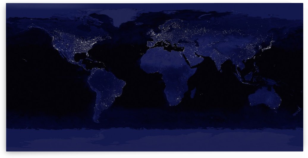 Global View of Earths City Lights by StocktrekImages