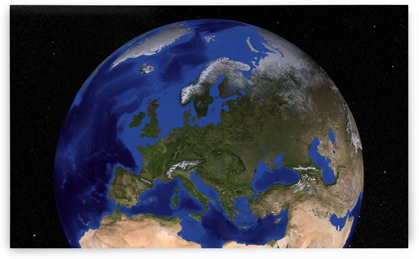 The Blue Marble Next Generation Earth showing Europe. by StocktrekImages