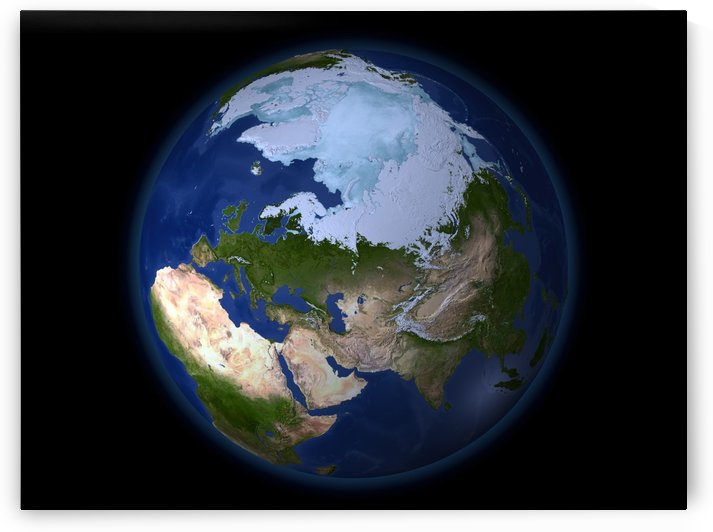 Full Earth showing the Arctic region. by StocktrekImages