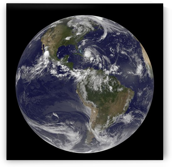 August 24 2011 - Satellite view of the Full Earth with Hurricane Irene visible over the Bahamas. by StocktrekImages