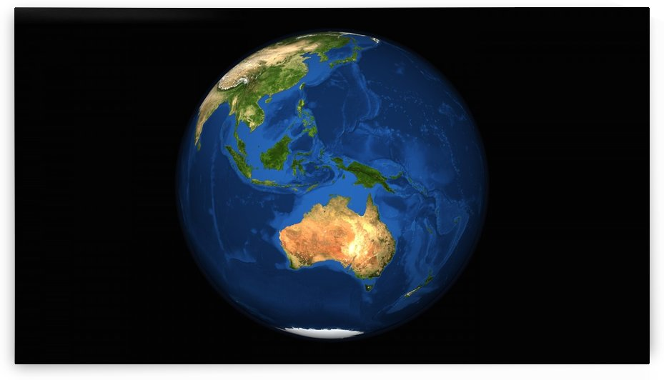 View of the full Earth showing Indonesia Oceania and the continent of Australia. by StocktrekImages