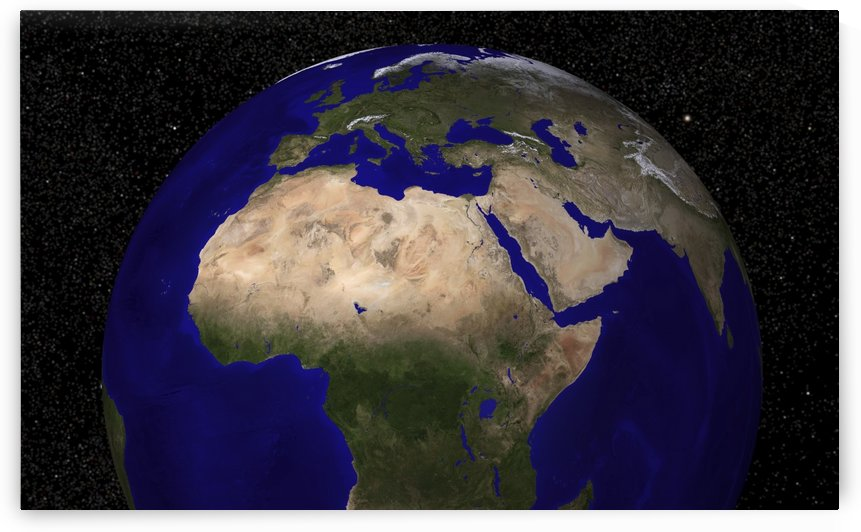Global view of Earth over North Africa Europe the Middle East and India. by StocktrekImages