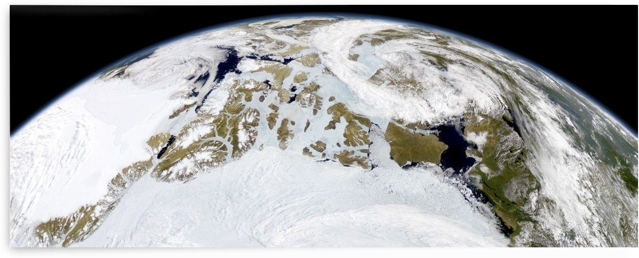Partial view of Earth showing northern Canada and northern Greenland.  by StocktrekImages