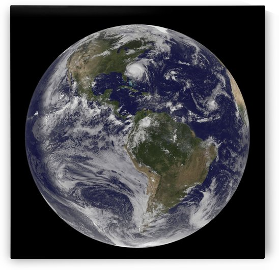 Full Earth with Hurricane Irene visible on the United States East Coast. by StocktrekImages