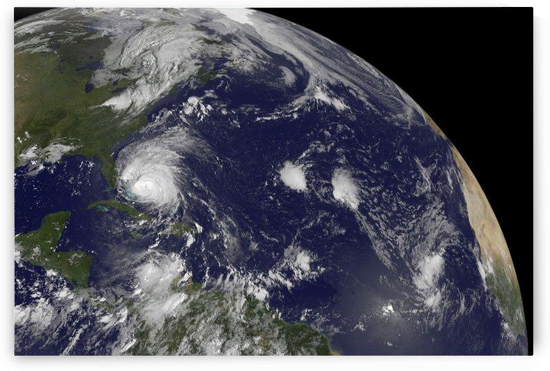 Satellite view of Hurricane Irene moving through the Bahamas. by StocktrekImages