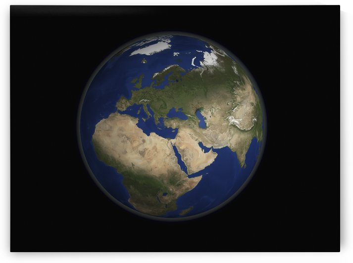 Full Earth view showing Africa Europe the Middle East and India. by StocktrekImages