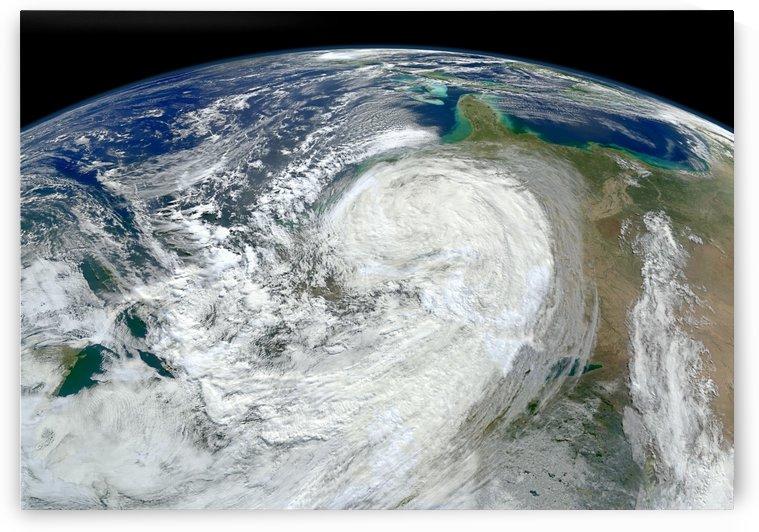 Satellite view of Hurricane Sandy along the East Coast of the United States. by StocktrekImages