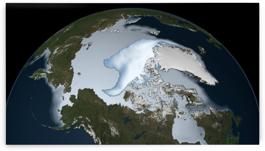 Planet Earth showing sea ice coverage in 2012. by StocktrekImages