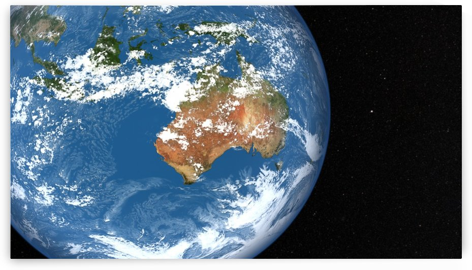 Planet Earth showing clouds over Australia. by StocktrekImages
