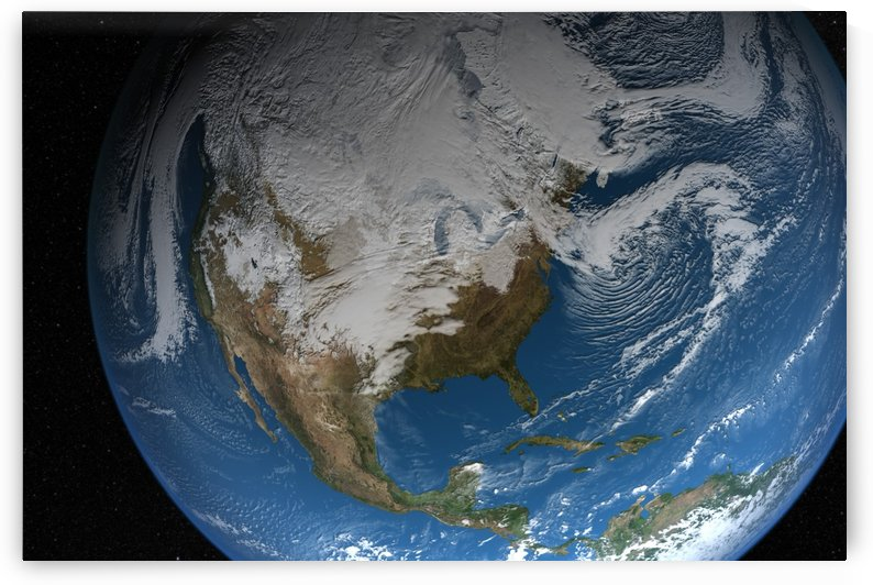 Full Earth showing simulated clouds over North America. by StocktrekImages