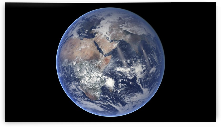 Composite image of the eastern hemisphere on planet Earth. by StocktrekImages
