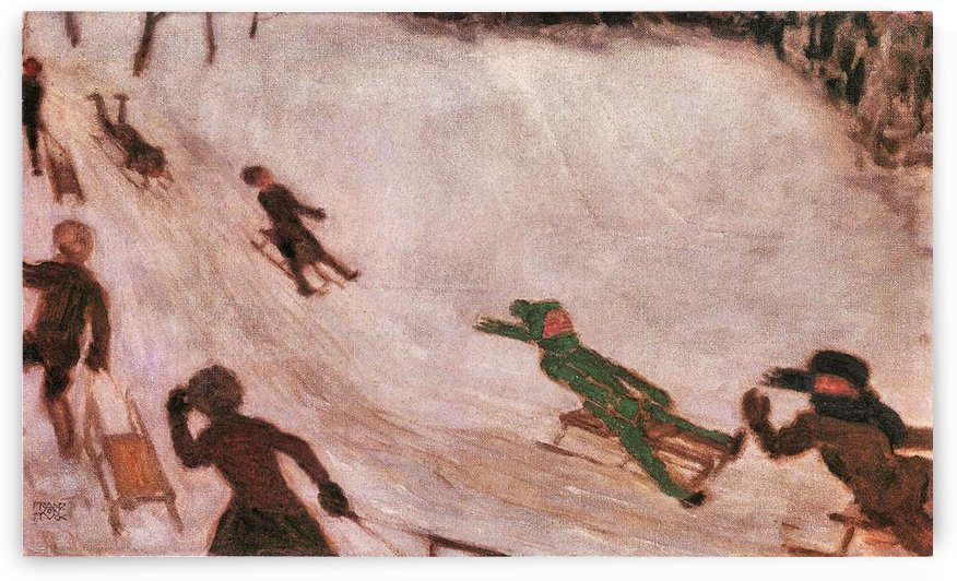 Children sledding by Franz von Stuck by Franz von Stuck