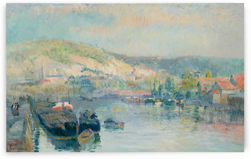 Sailing Boat at the Bank of the Seine near Rouen by Albert lebourg
