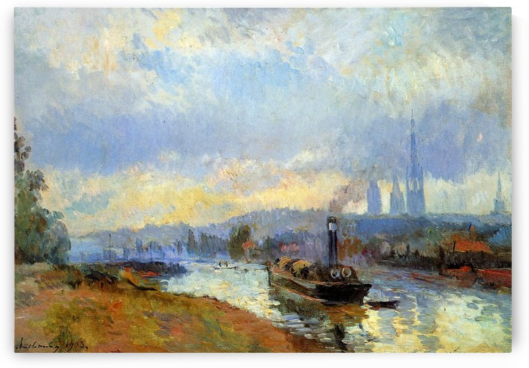 The Port near Rouen by Albert lebourg