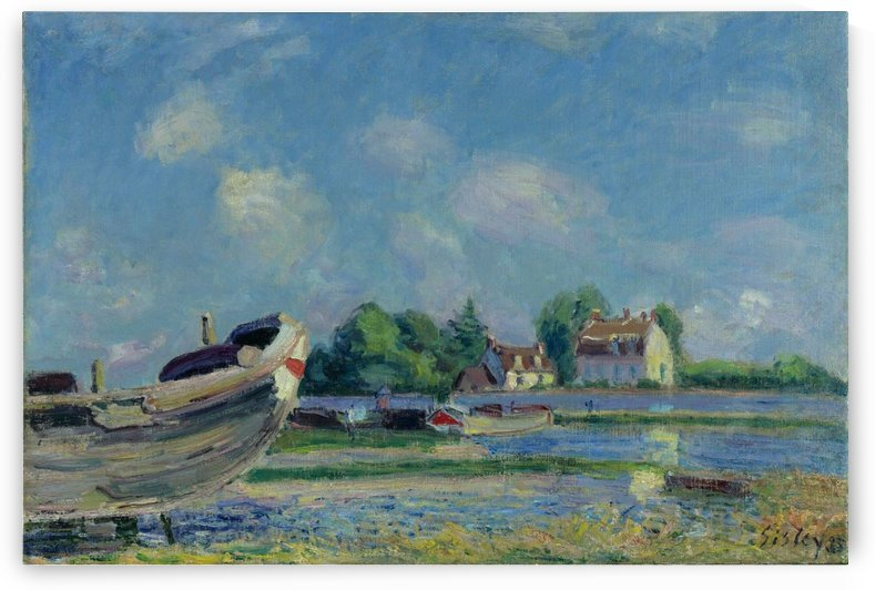 Boats on Repair at Saint-Mammes by Alfred Sisley