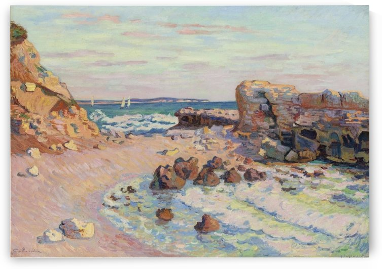 Rocks at Saint-Palais, Rising Tide by Armand Guillaumin