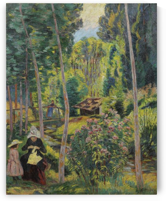 Banks of the Orge, Madame Guillaumin and Her Daughter Madeleine by Armand Guillaumin