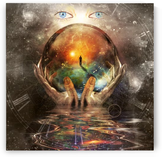 Crystal sphere in Gods hands - Surreal art  by Bruce Rolff
