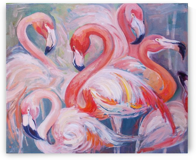 Pink Flamingos by Leah Maximova