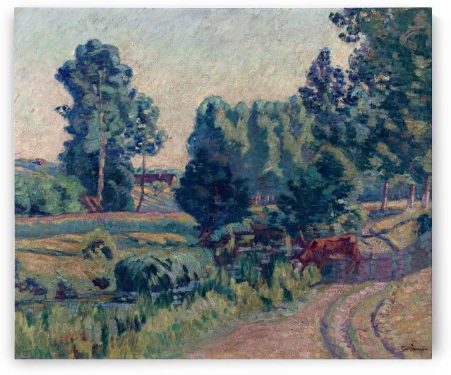 Farm and Trees at Saint-Cheron by Armand Guillaumin