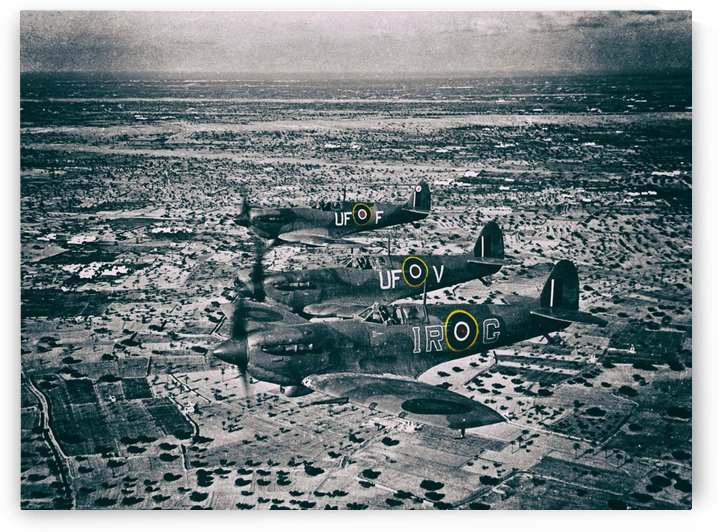 Formation Of Spitfires - 1943 by Black Tie Restoration