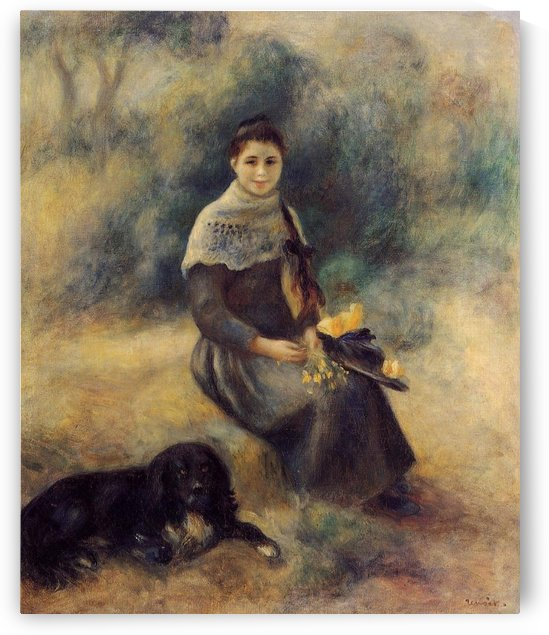 Young Woman with the Dog by Berthe Morisot