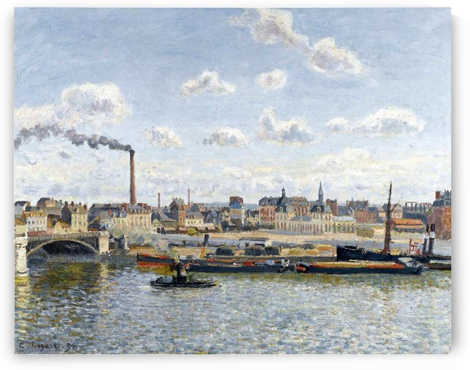 The Bridge of Boieldieu and the Orleans Station, Rouen, Sunny Day by Camille Pissarro