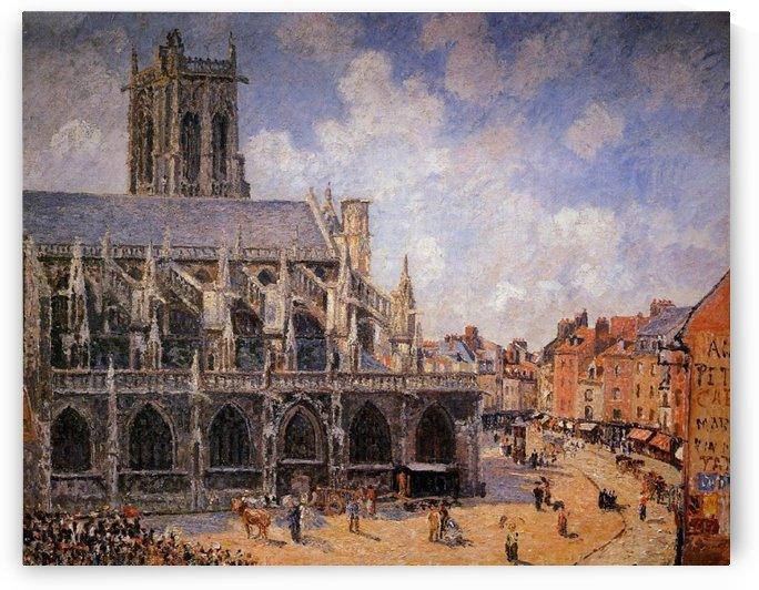 The Church Saint-Jaques at Dieppe, Monning, Sun by Camille Pissarro