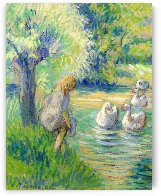 The Shepperdess and the Geese, Eragny by Camille Pissarro