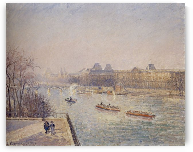 The Louvre, Morning, Spring by Camille Pissarro