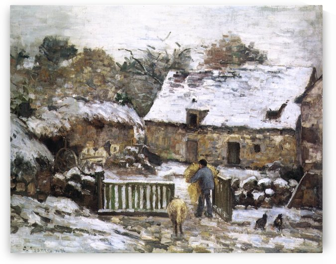 The Farm at Montfoucault, Snow by Camille Pissarro