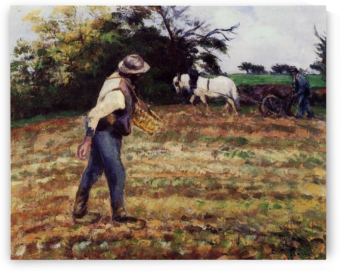 The Sower and the Ploughman, Montfoucault by Camille Pissarro