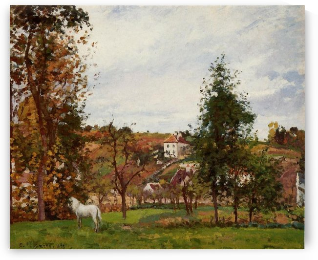 White Horse at the Meadow by Camille Pissarro