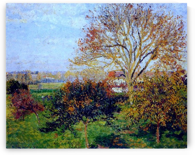 Landscape with Two Figures in Autumn, Eragny by Camille Pissarro