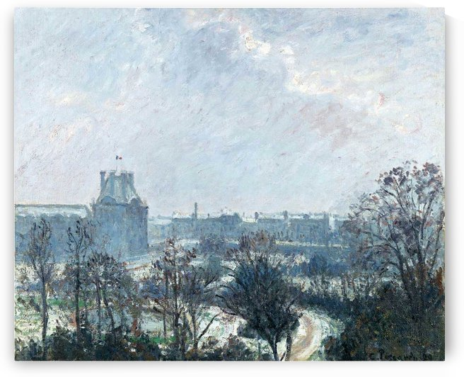 The Garden of Tuileries and Pavilion de Flore, Snow Effect by Camille Pissarro