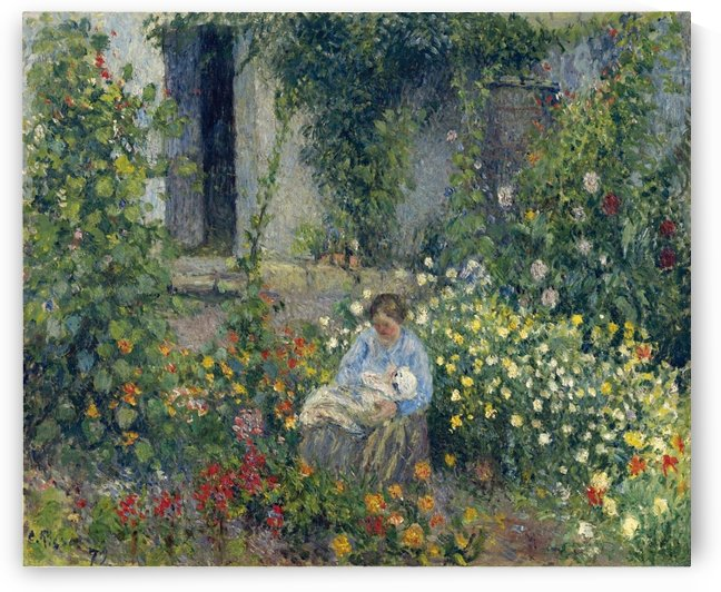 Julie and Ludovic-Rodolphe Pissarro among the Flowers by Camille Pissarro