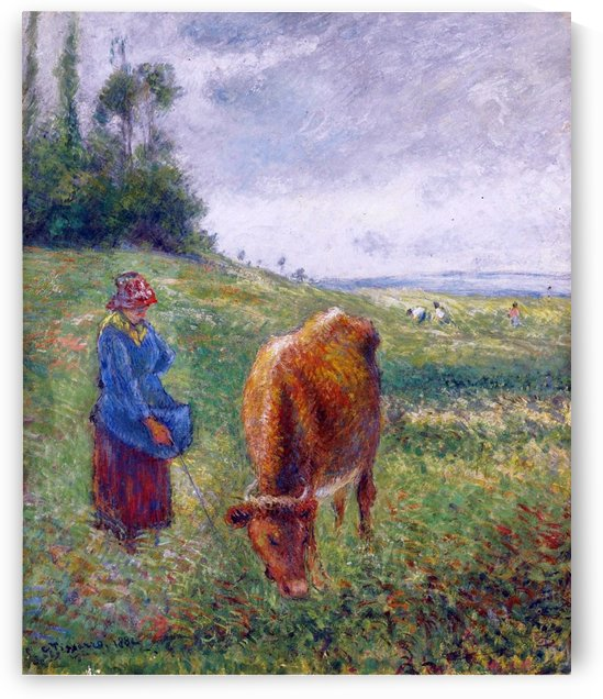 Shepherdess with a Cow, Cote des Grouettes, Pontoise by Camille Pissarro