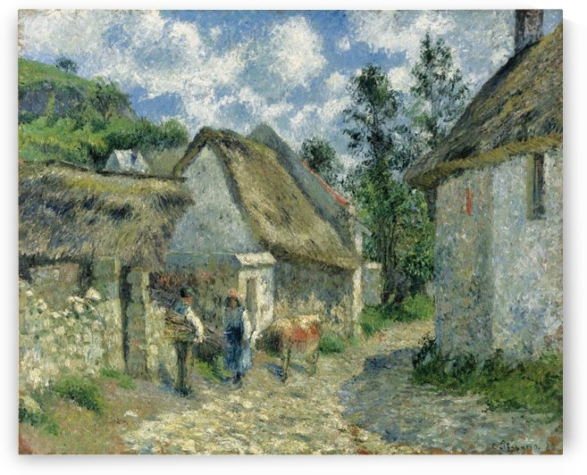 Paved Street at Valhermeil, Auvers-sur-Oise, the Cabins and the Cow by Camille Pissarro