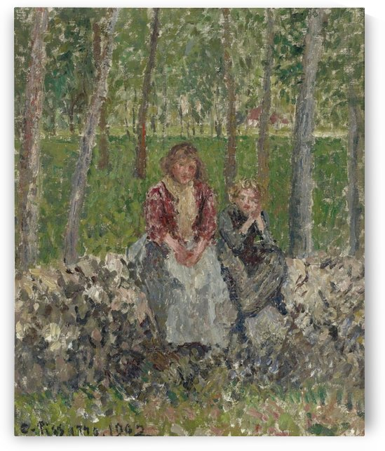 Peasants Seated under the Trees at Moret by Camille Pissarro