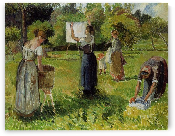 Laundresses at Eragny (study) by Camille Pissarro