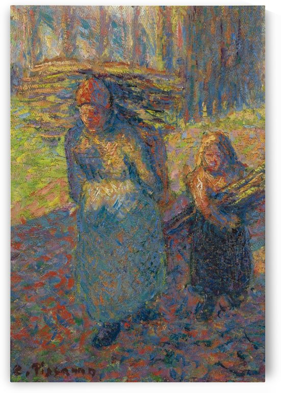 Peasant Women Carrying Brushwood by Camille Pissarro
