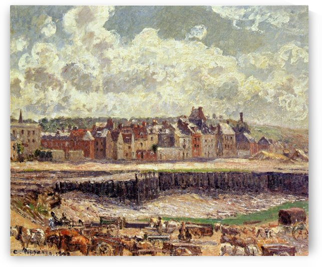 The Inner Harbor in Bassin of the Duquesne, Dieppe, Grey Weather by Camille Pissarro