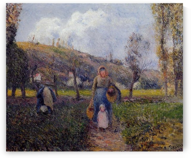 Peasant Woman with the Donkey, Pontoise by Camille Pissarro
